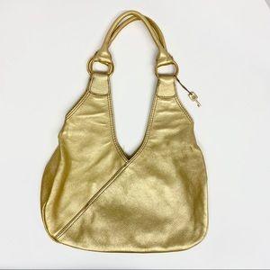 Fossil Gold Leather Shoulder Bag